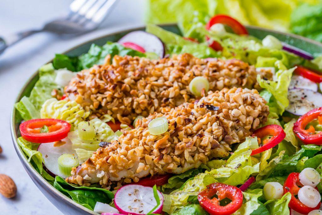 Crispy Chicken Salad with Homemade Honey Dijon Dressing