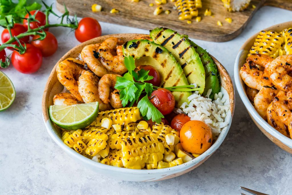 Grilled Shrimp Bowls Cilantro Lime Rice Instructions