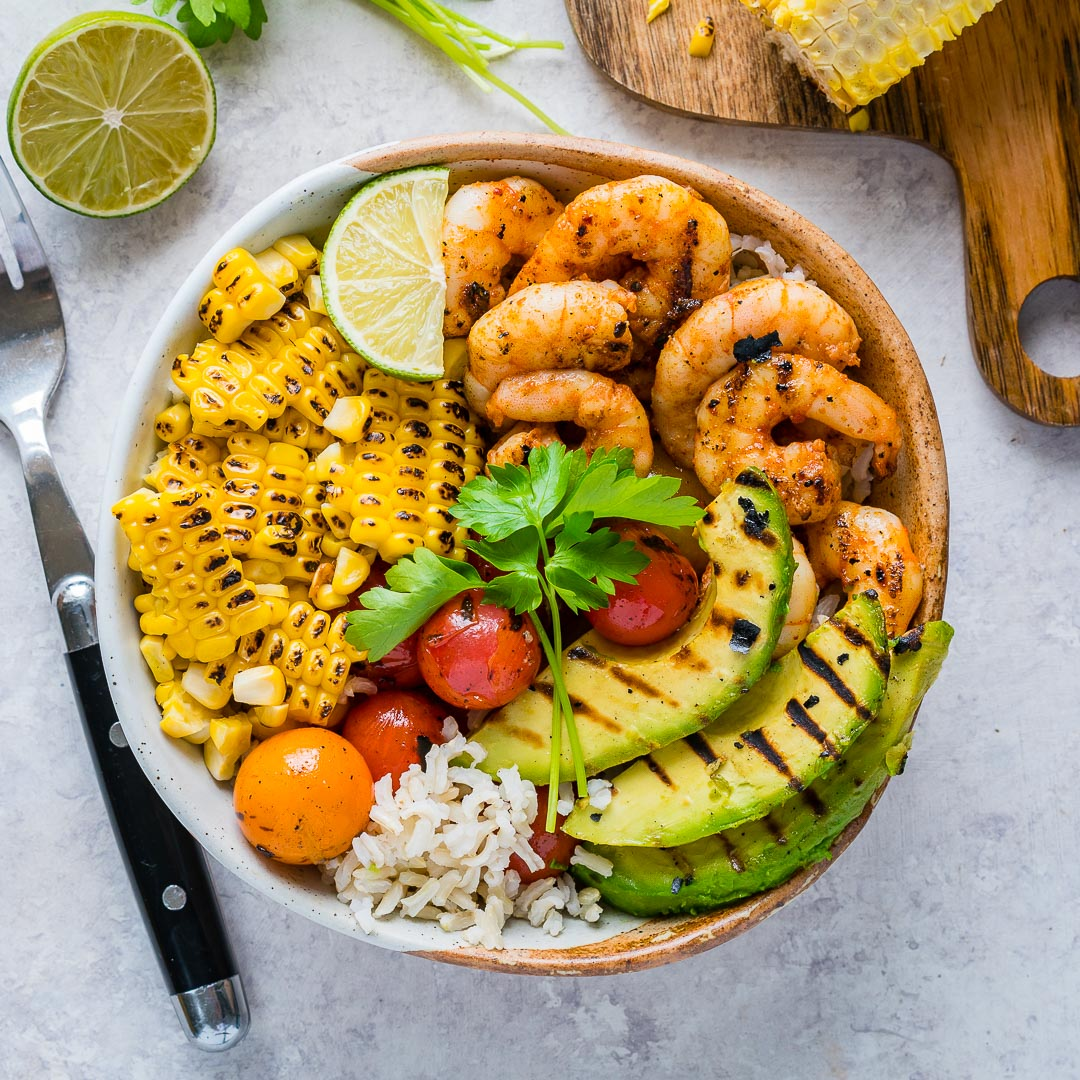 Eat Clean Grilled Shrimp Bowls + Cilantro-Lime Rice