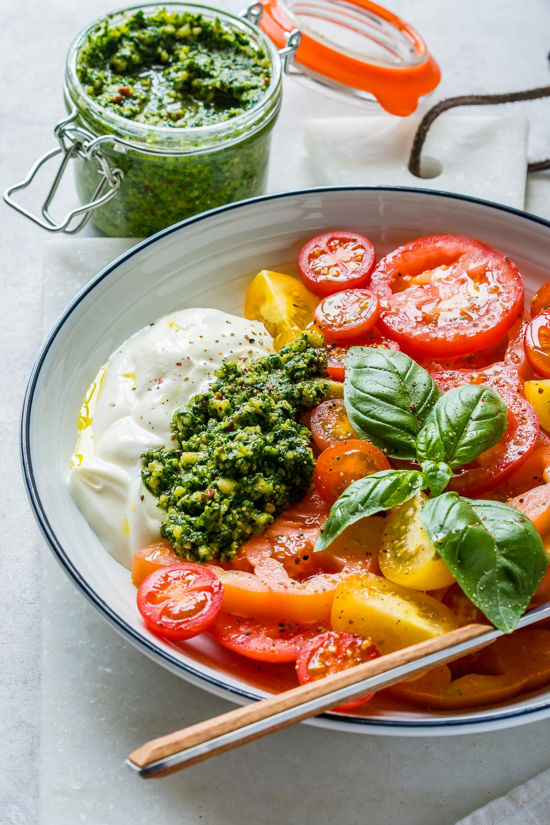 Eat Clean Heirloom Tomatoes Pesto Yogurt