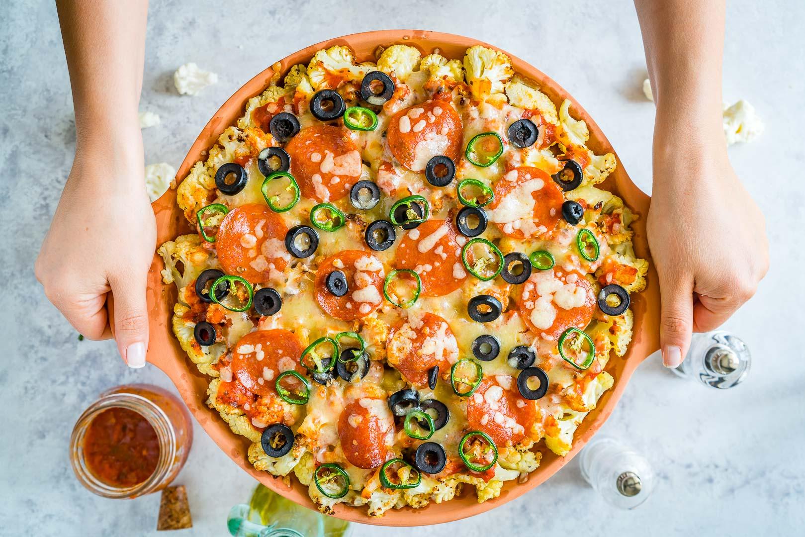 Healthy Cauliflower Pizza Bake