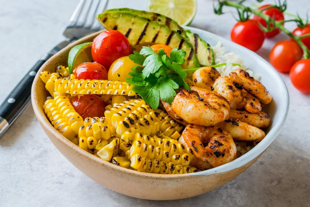 Healthy Grilled Shrimp Bowls Cilantro Lime Rice