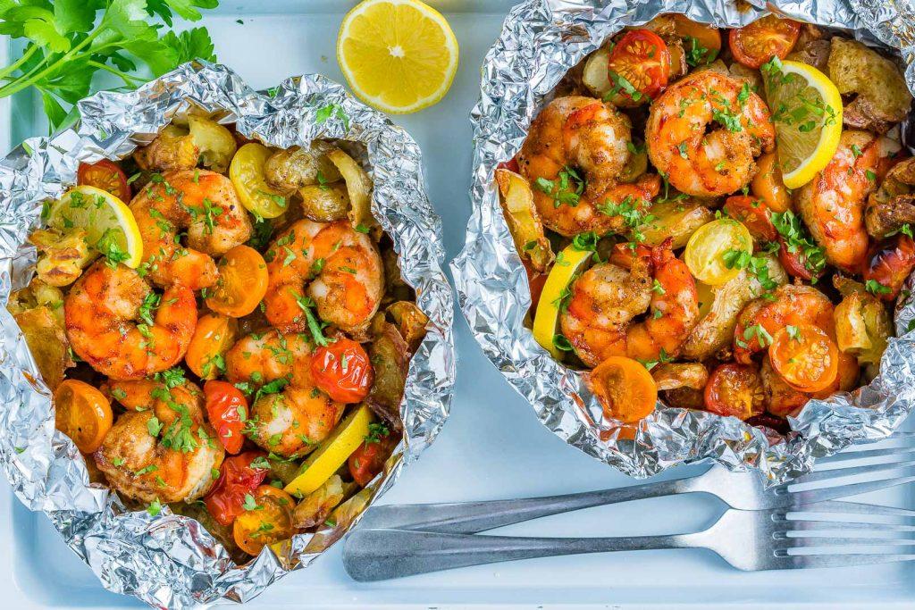 Clean Food Honey Garlic Shrimp Packets Recipe