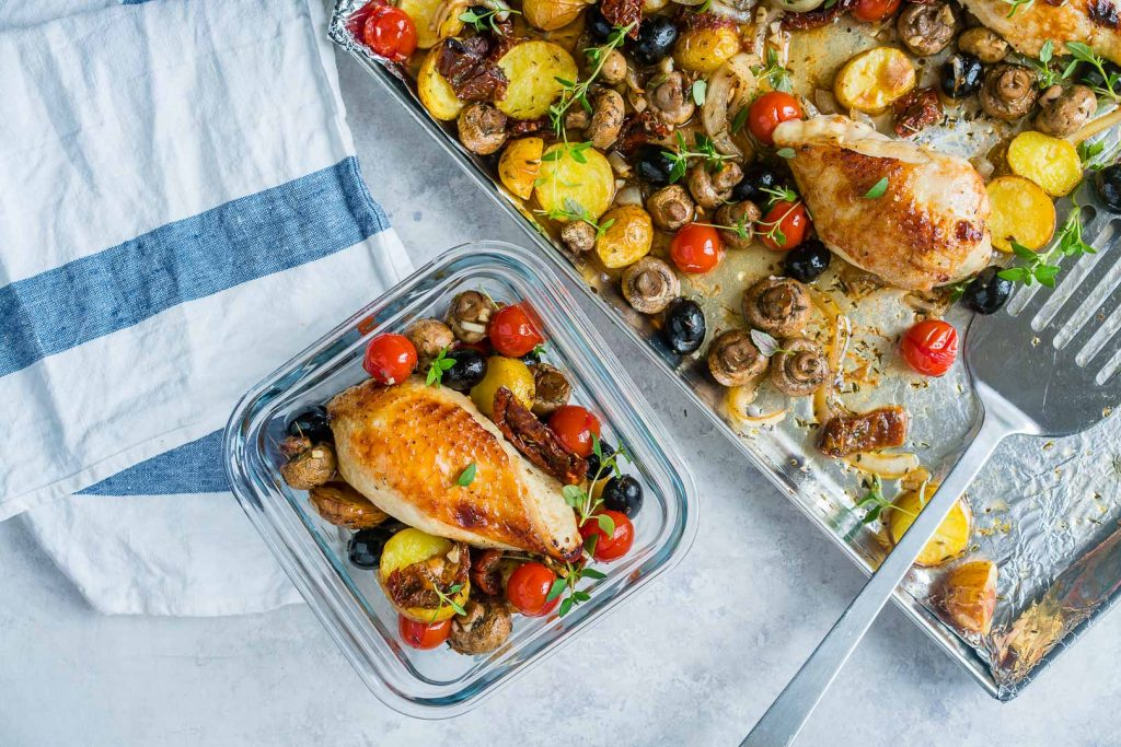 One Sheet Pan Tuscan Chicken
