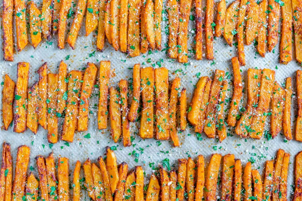 Baked Parmesan Butternut Squash Fries recipe