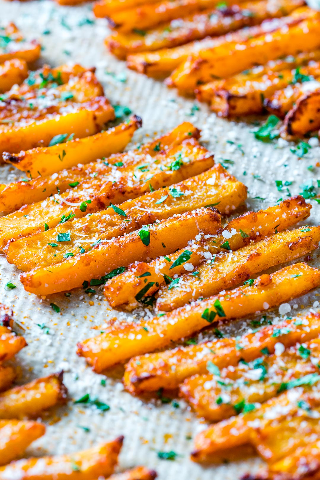 Clean Eating Baked Parmesan Butternut Squash Fries