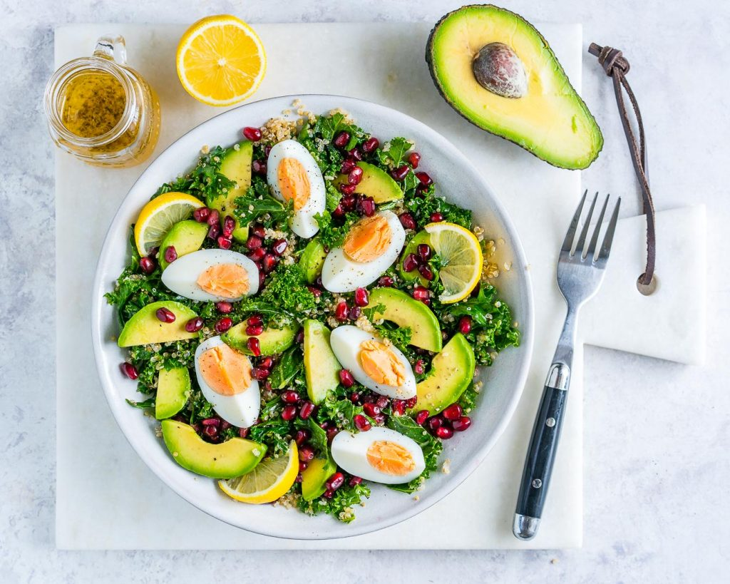 Clean Eating Egg Quinoa Kale Salad