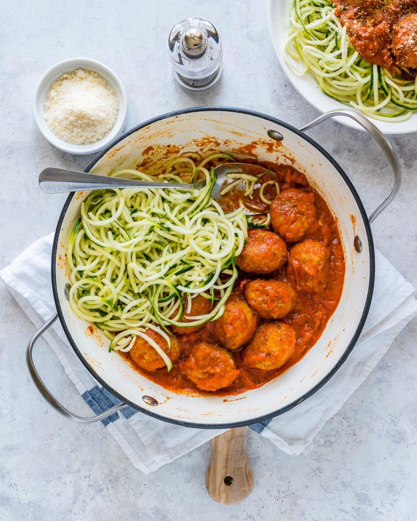 Clean Eating Turkey Meatballs Slurpy Zucchini Noodles