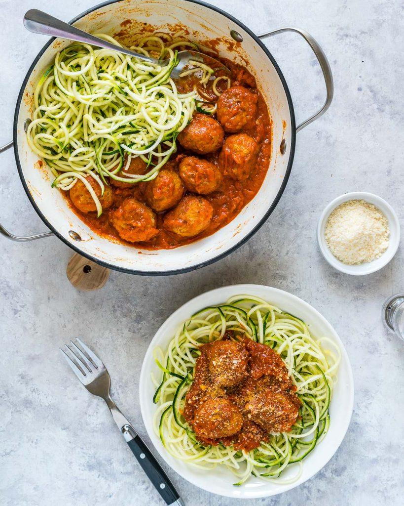 Turkey Meatballs Slurpy Zucchini Noodles Dinner Idea