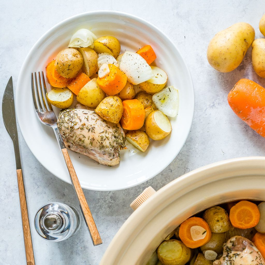 Clean Eating Slow Cooker Garlic Chicken Root Veggies Recipe
