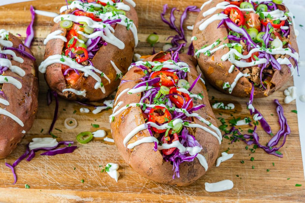 Eat Clean Taco Stuffed Sweet Potatoes recipe