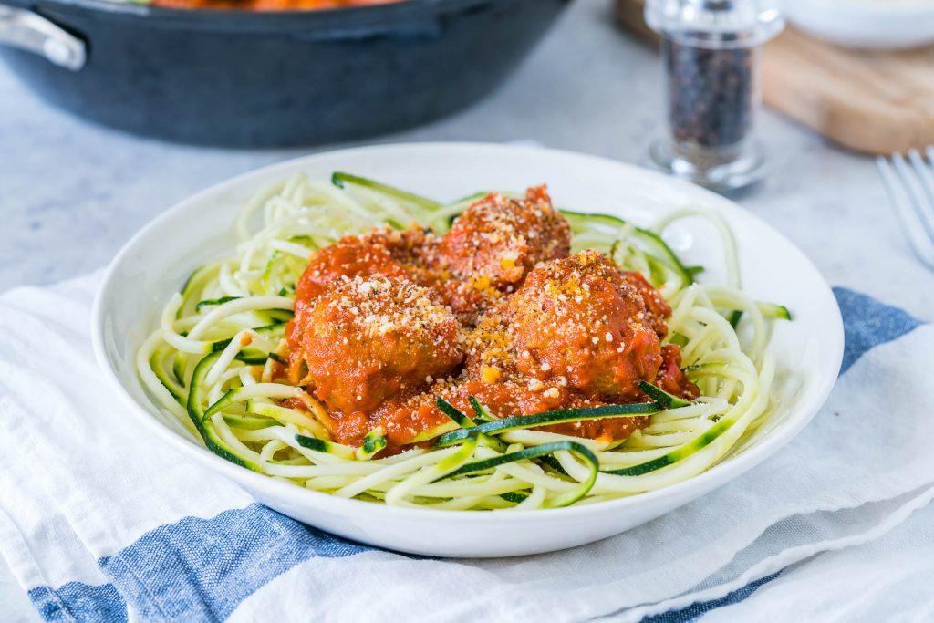 Eat Clean Turkey Meatballs Slurpy Zucchini Noodles