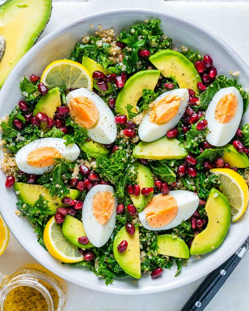 Healthy Egg Quinoa Kale Salad