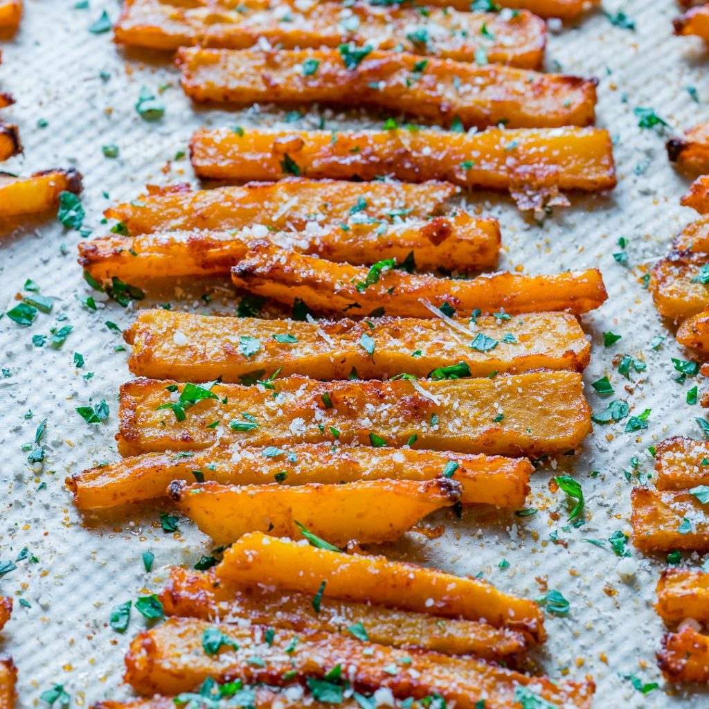 Healthy Baked Parmesan Butternut Squash Fries