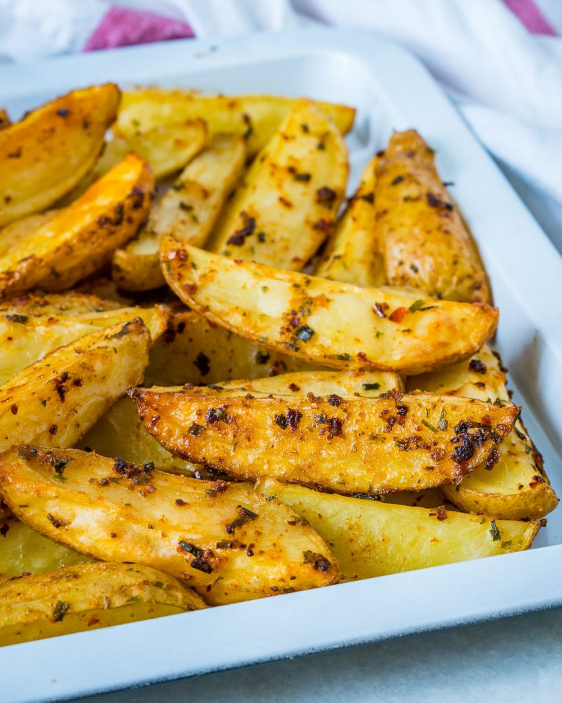 Spicy Garlicy Baked Potato Wedges Clean Eating