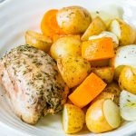 Slow Cooker Garlic Chicken + Root Veggies Clean Recipe