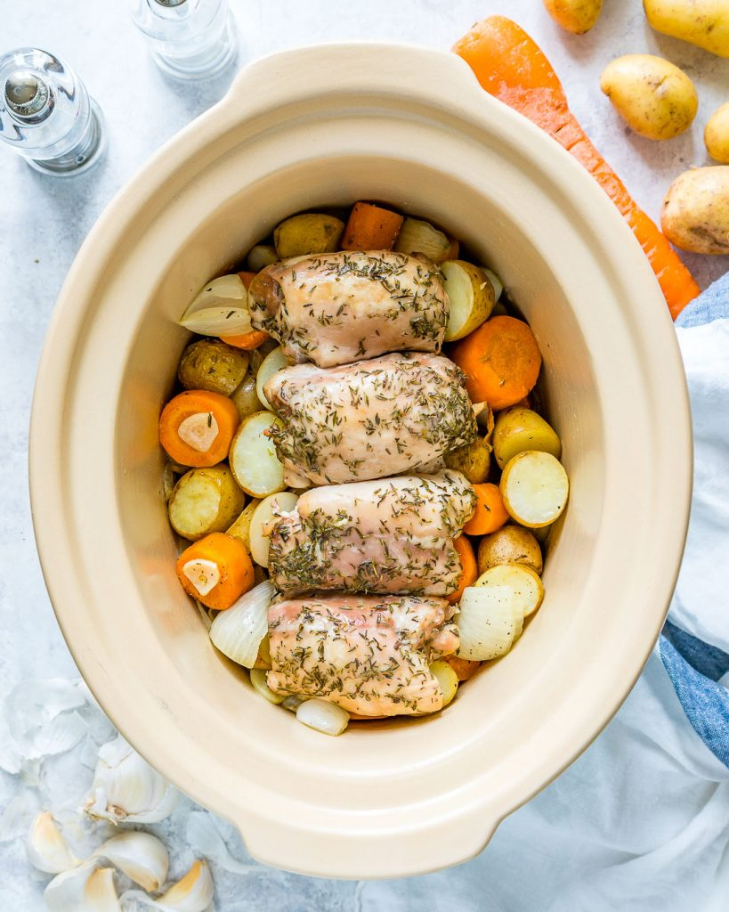 Easy Slow Cooker Garlic Chicken Root Veggies Instructions