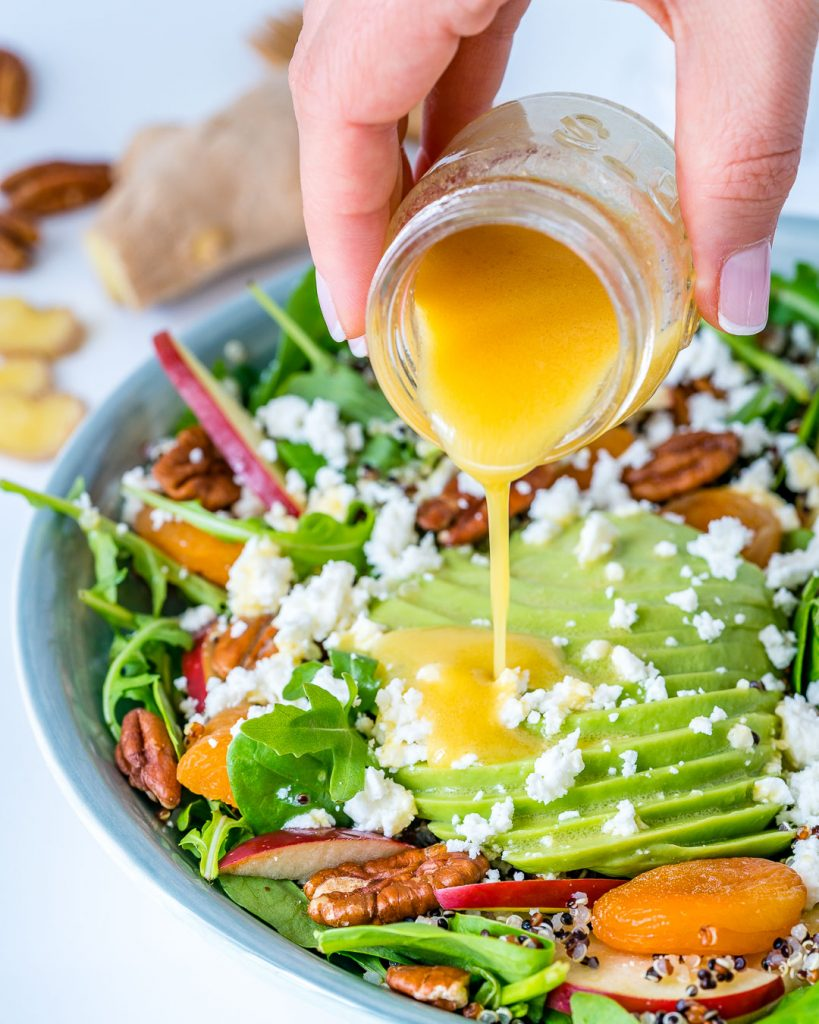 Autumn Salad Bowl + Honey Ginger Dressing Recipe