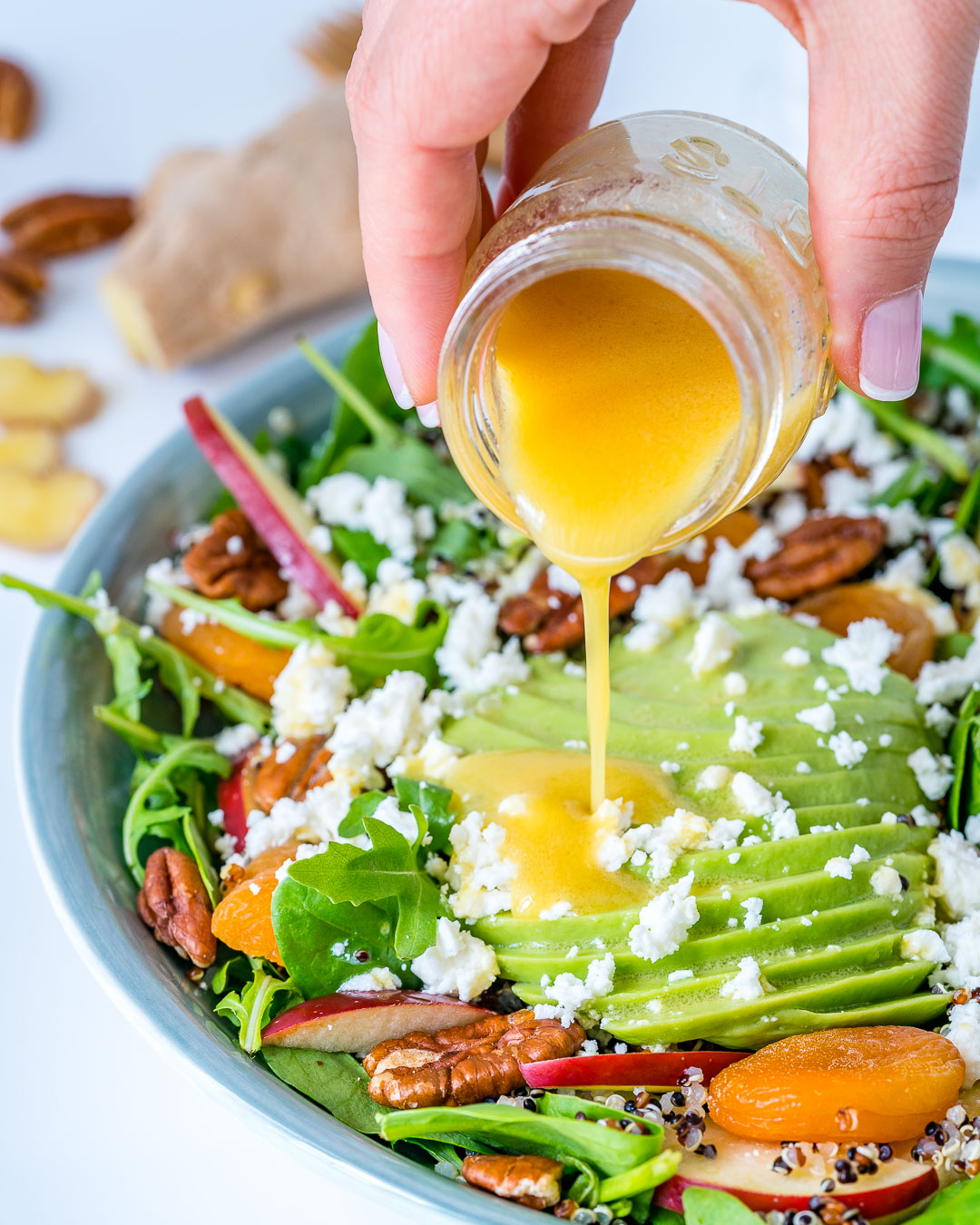 Autumn Salad Bowl + Honey Ginger Dressing Recipe