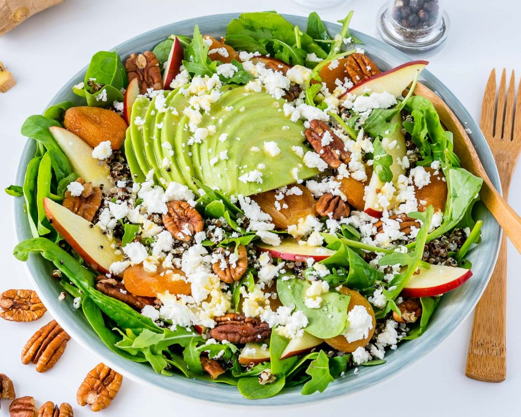 Clean Eating Autumn Salad Bowl Honey Ginger Dressing