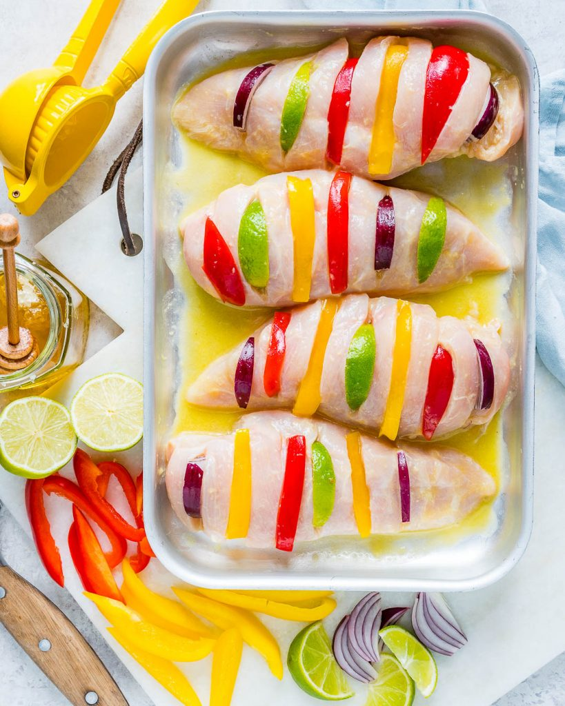 Clean Eating Baked Honey Lime Hasselback Chicken