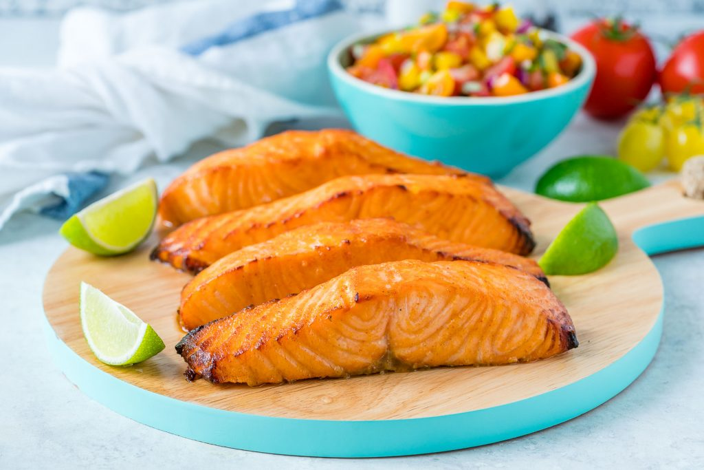 Clean Eating Honey Lime Salmon with Avocado Salsa