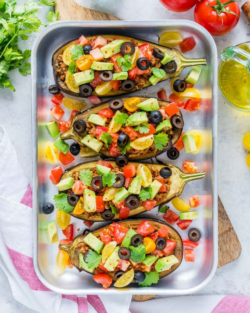 Clean Eating Taco Stuffed Eggplant Boats