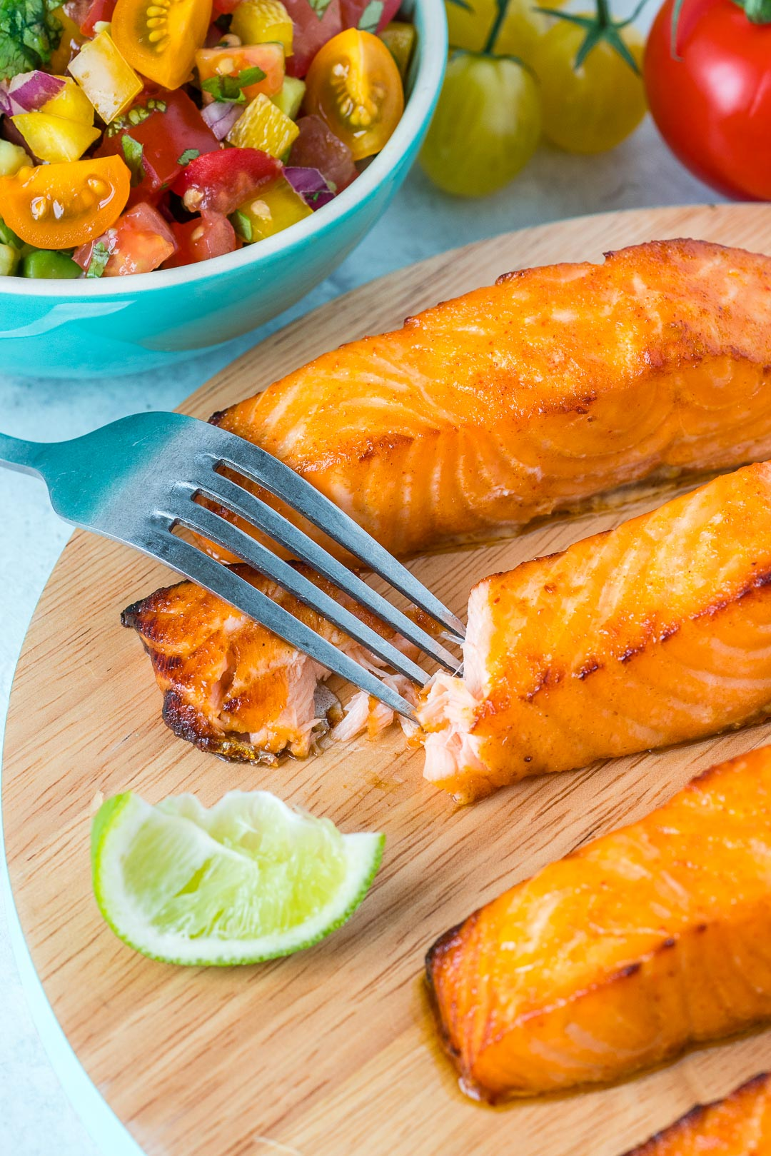Honey Lime Salmon with Avocado Salsa Instructions