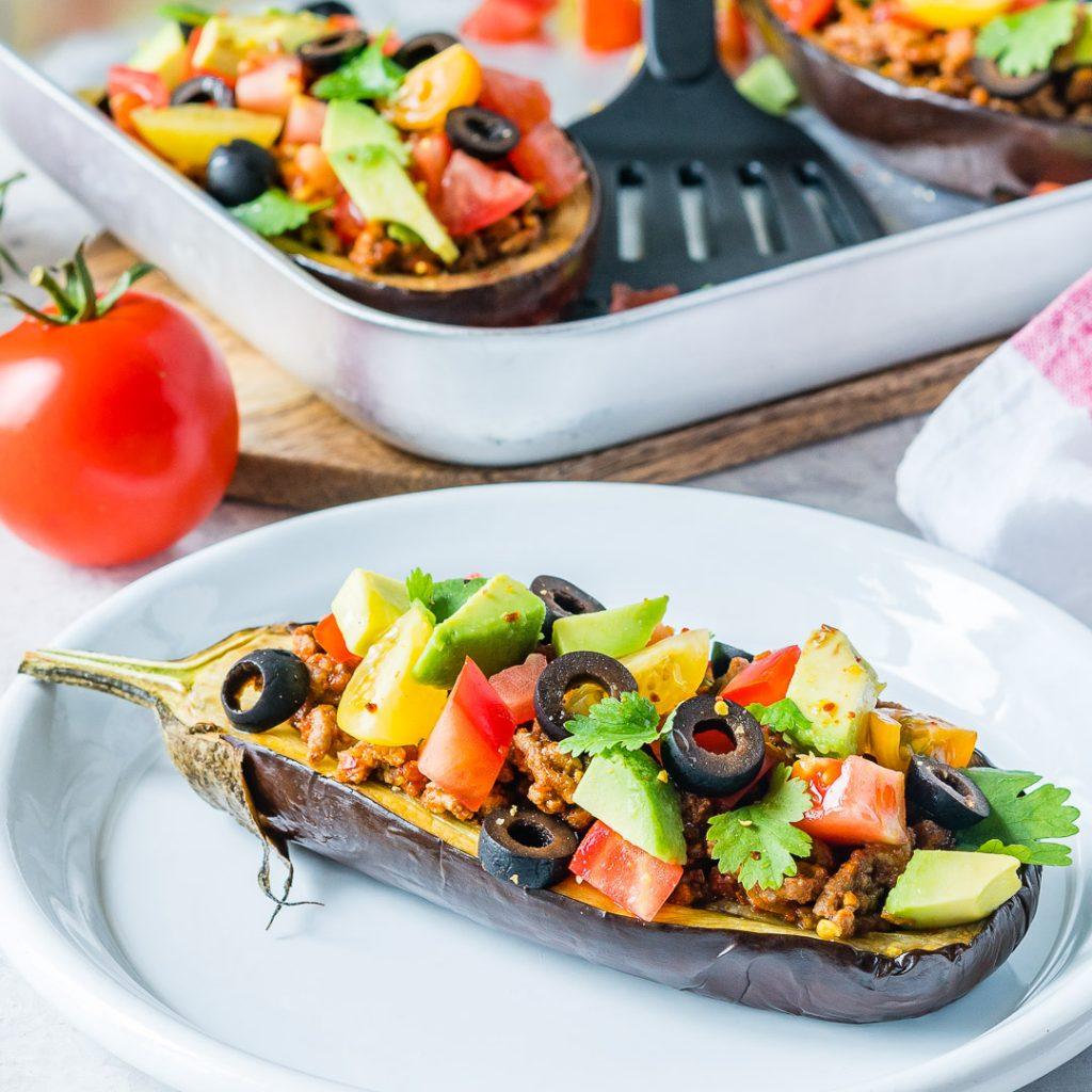 Delicious Taco Stuffed Eggplant Boats