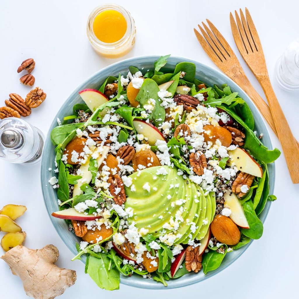 Best Autumn Salad Bowl with Honey Ginger Dressing