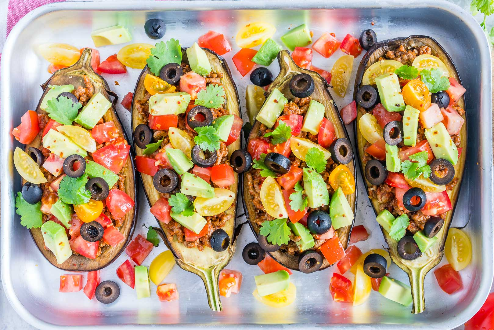 Eat Clean Taco Stuffed Eggplant Boats