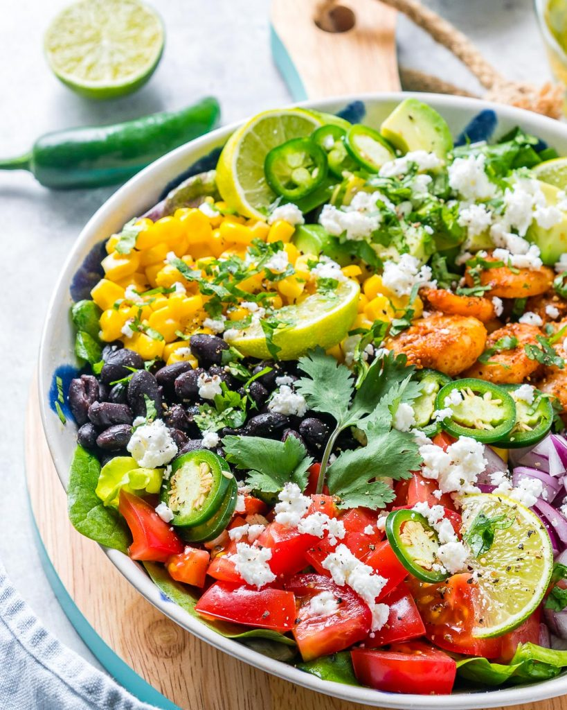 Healthy Avocado-Lime Shrimp Taco Salad