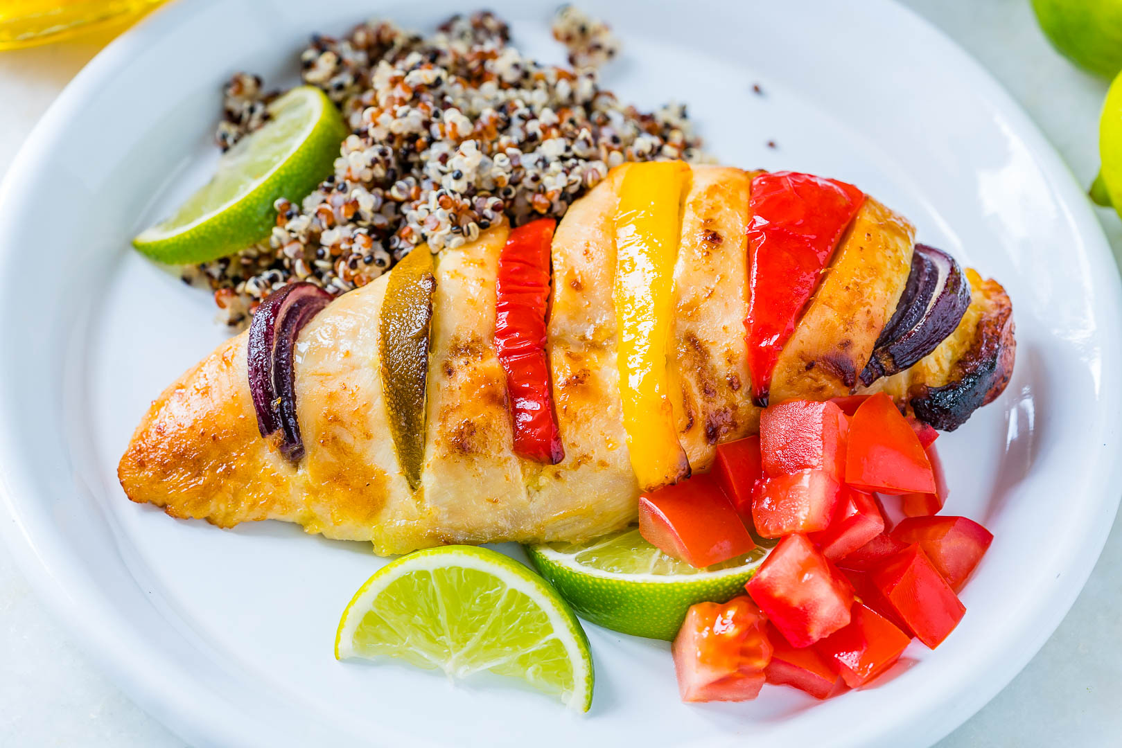 Healthy Baked Honey Lime Hasselback Chicken