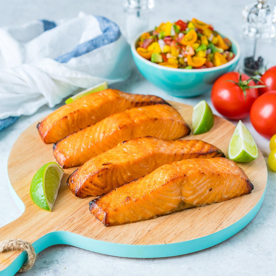 Healthy Honey + Lime Salmon with Avocado Salsa