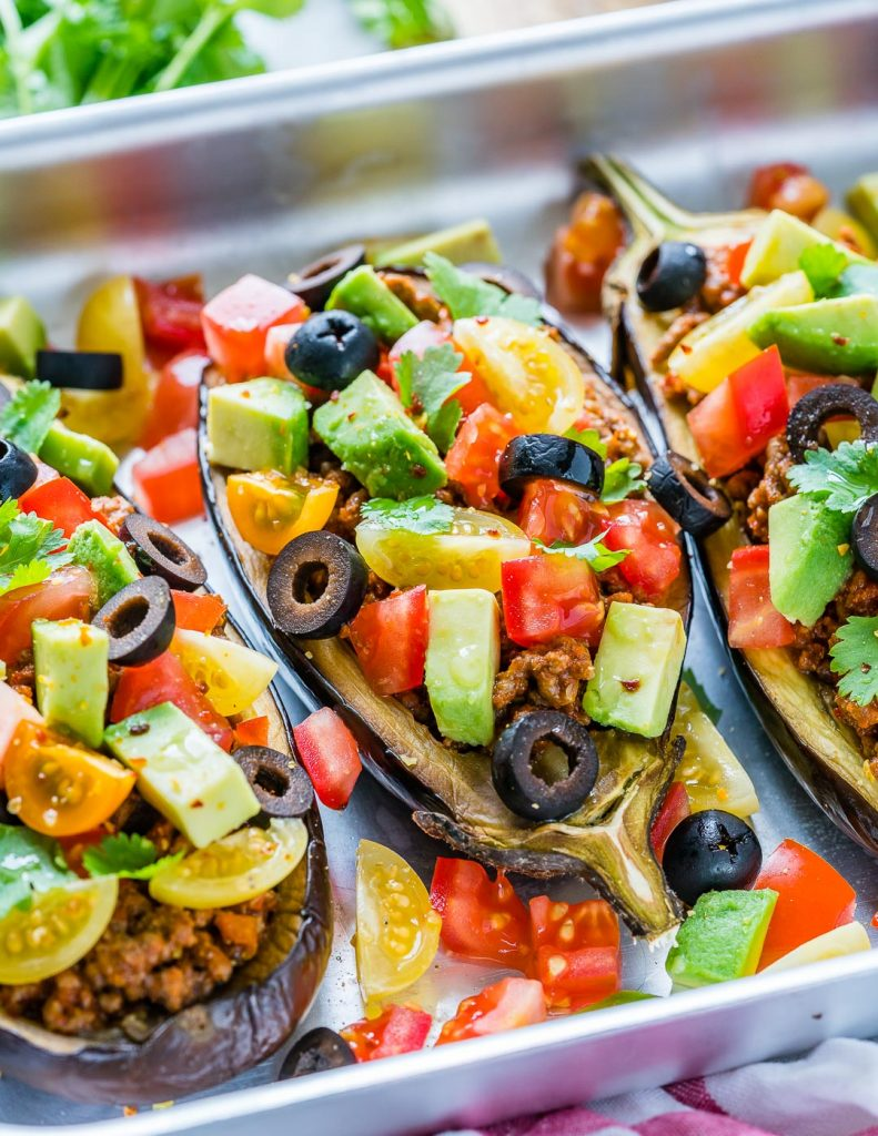 Healthy Taco Stuffed Eggplant Boats Recipe