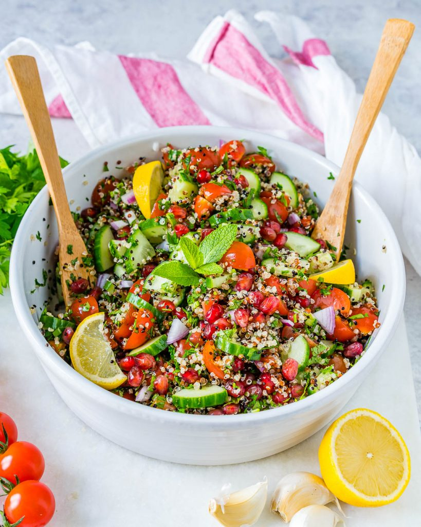 Healthy Lemony Quinoa Tabbouleh Salad Bowl