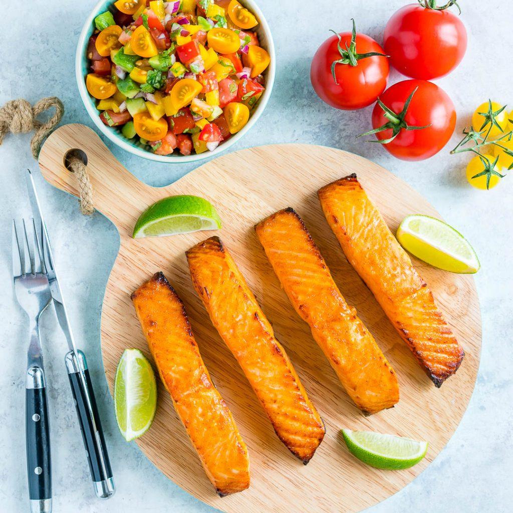 Honey Lime Salmon with Avocado Salsa Recipe