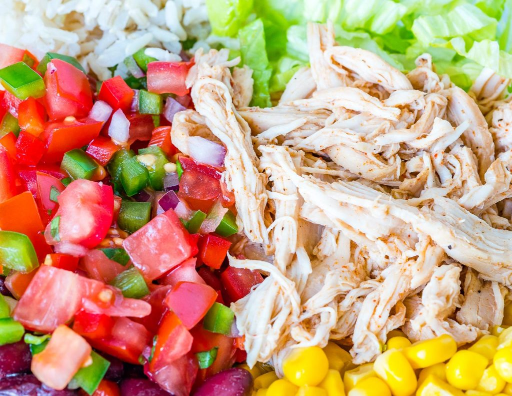 Healthy Pulled Chicken Burrito Bowls
