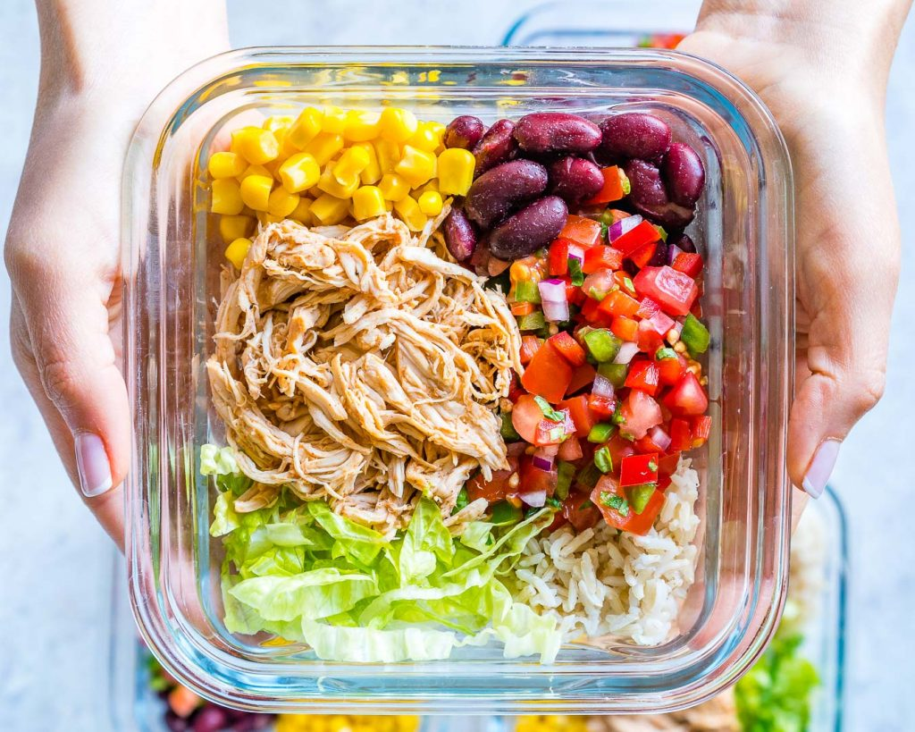 Pulled Chicken Burrito Bowls Food Prep