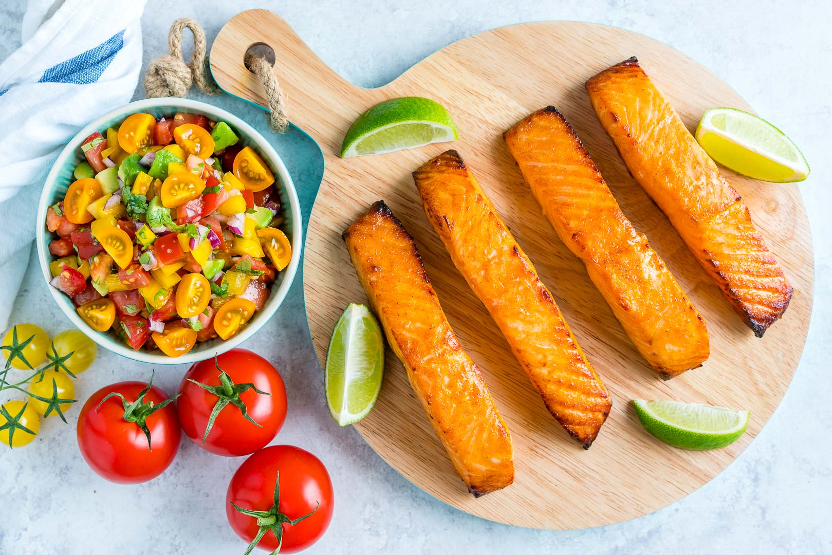 Honey Lime Salmon with Avocado Salsa Dinner