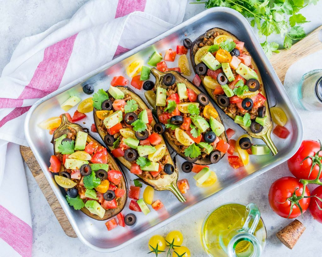 Eggplant Boats Topped with Delightful Veggies