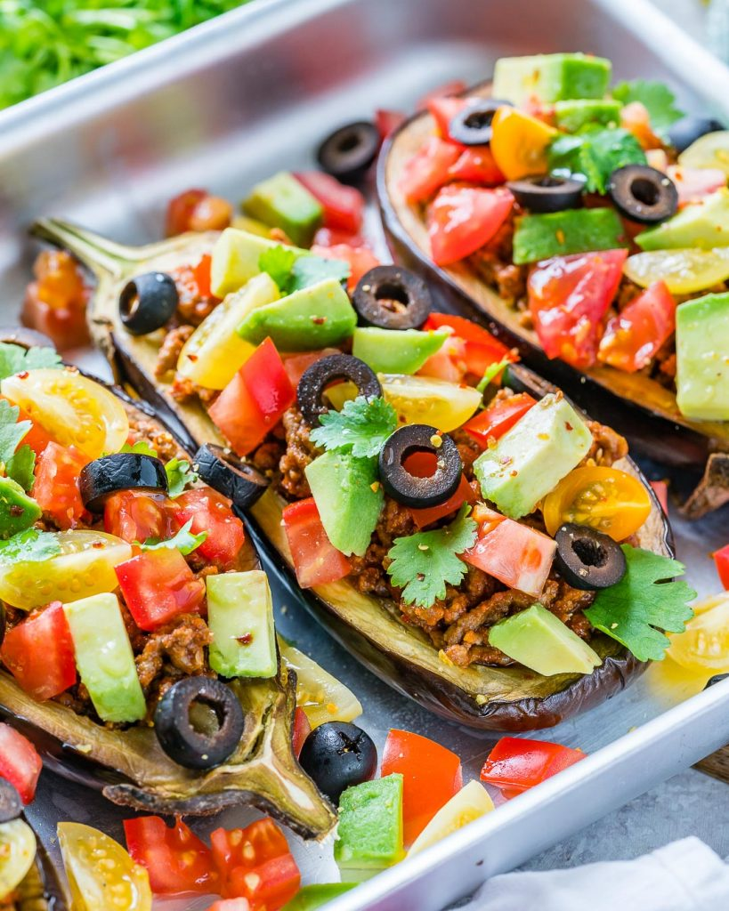 Taco Stuffed Eggplant Boats recipe Clean Eating
