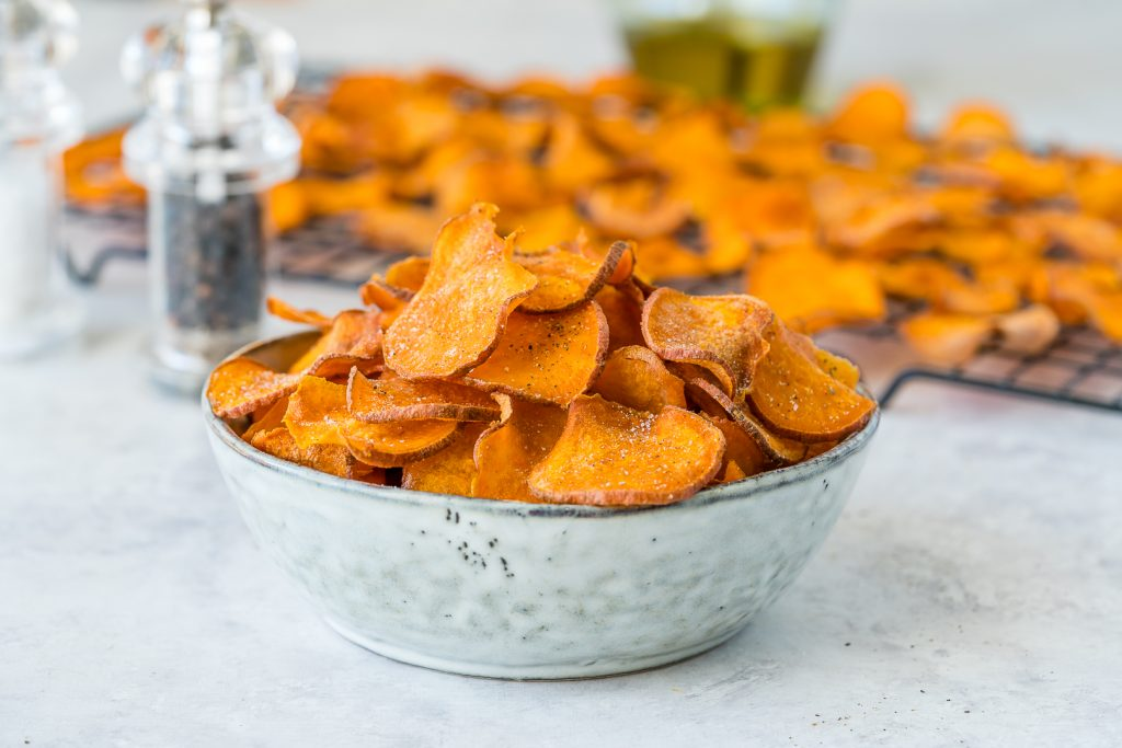 Clean Low Carbs Baked Sweet Potato Chips