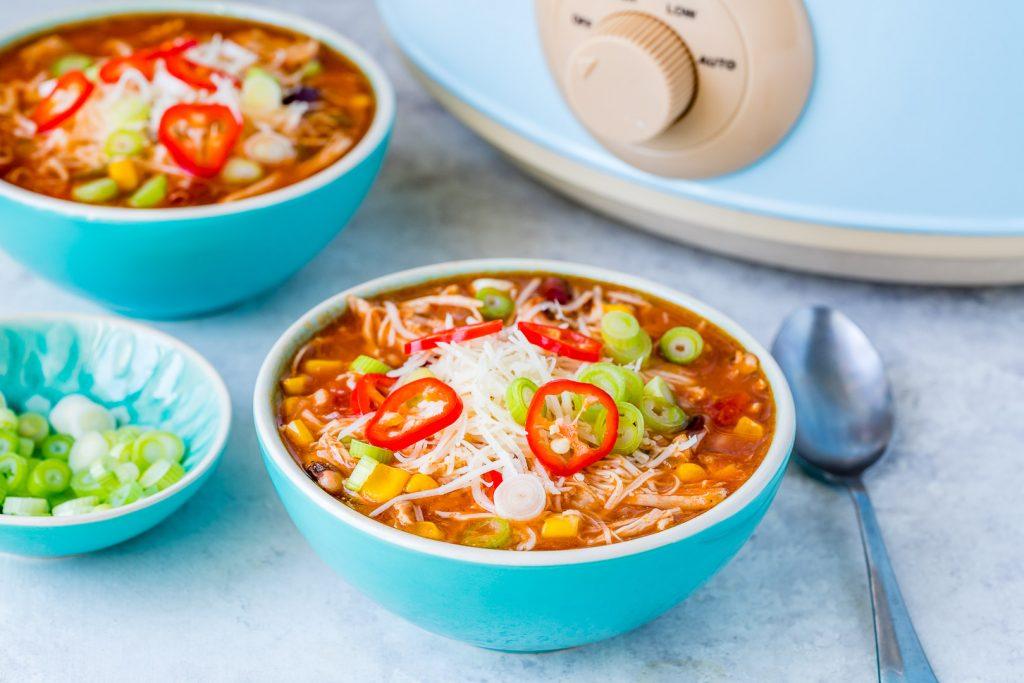 Clean Eating Crockpot Chicken Enchilada Soup