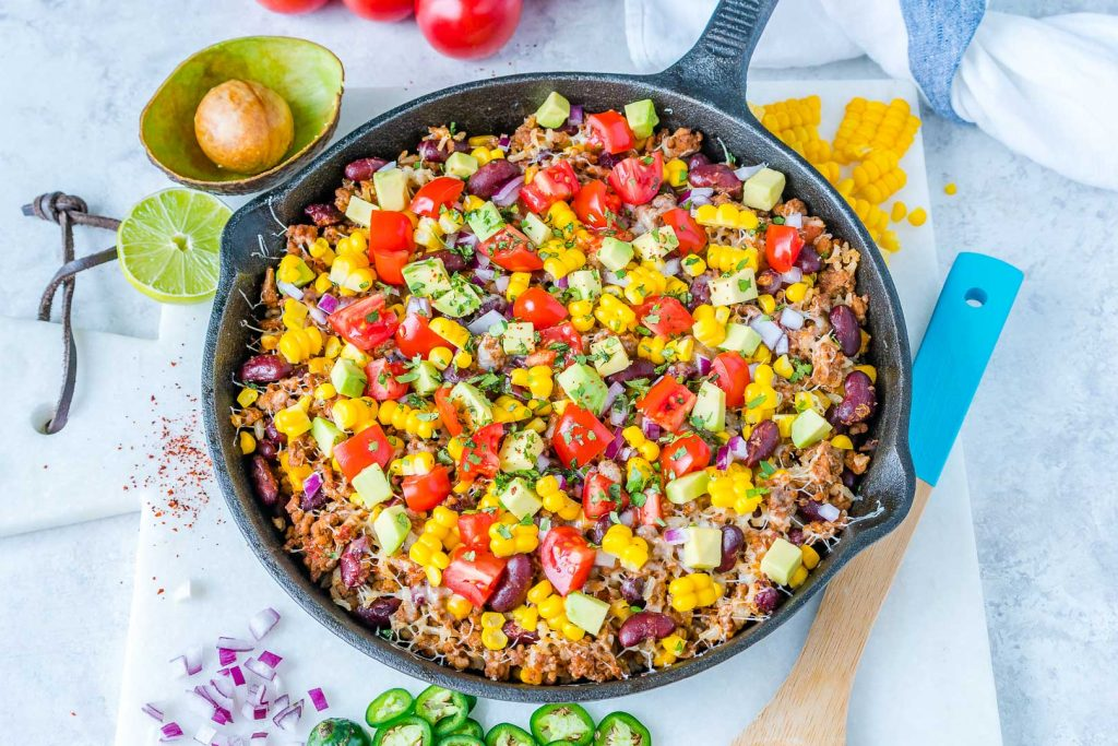Clean Eating Tex-Mex Hearty Turkey Rice Skillet
