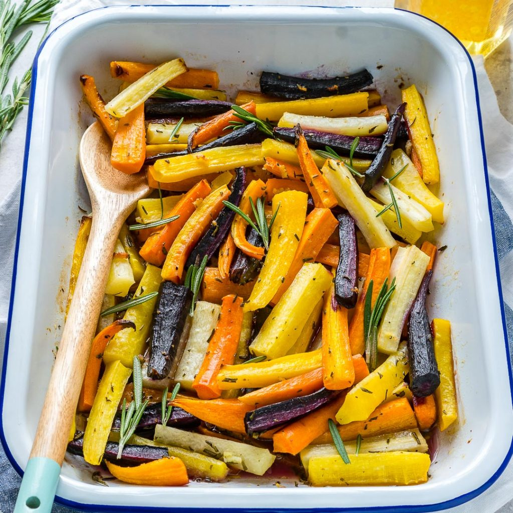 Clean Honey Butter Herb Roasted Carrots