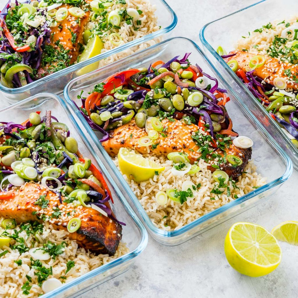 Clean Sweet Chili Salmon Meal Prep Bowls