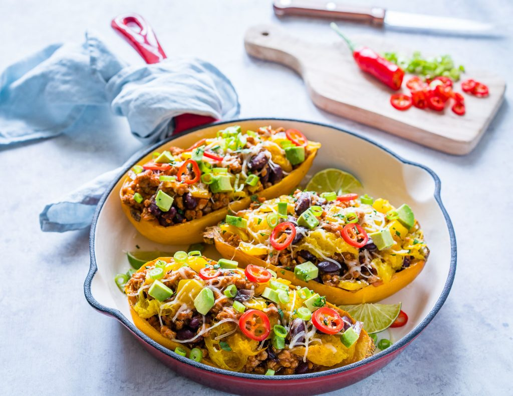 Clean Eating Taco Stuffed Spaghetti Squash