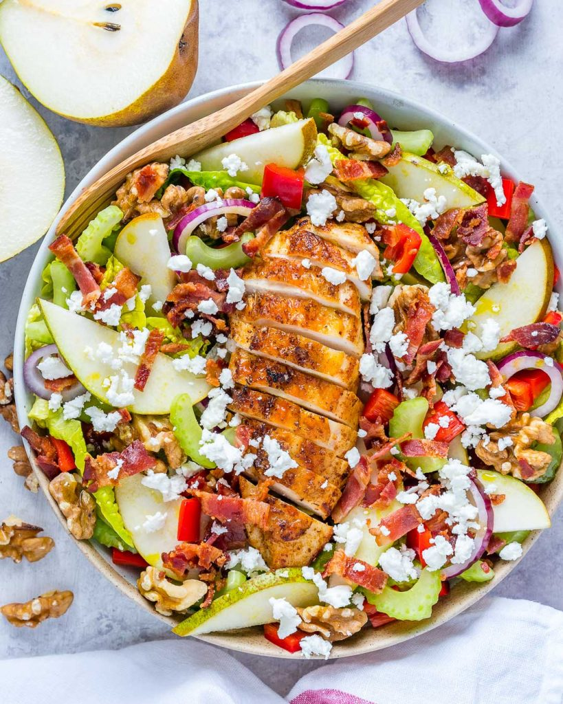 Best Autumn Pear Goat Cheese Chicken Salad