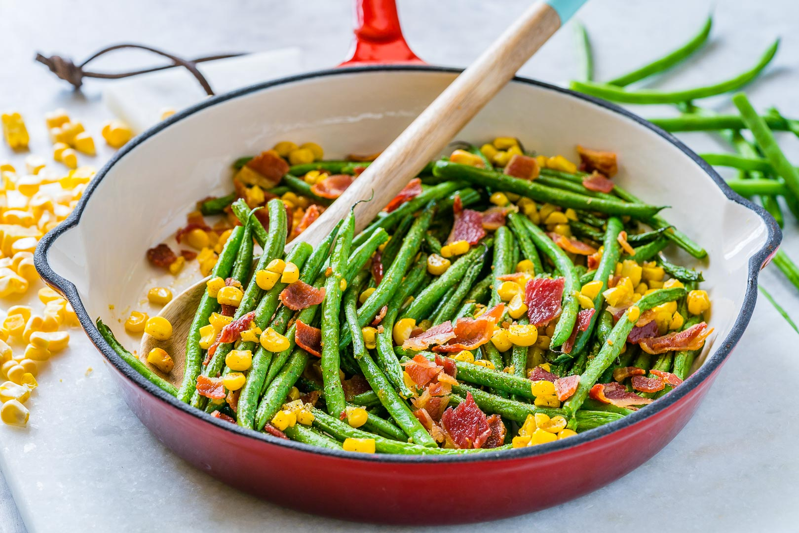 Healthy Green Bean + Bacon Skillet Recipe
